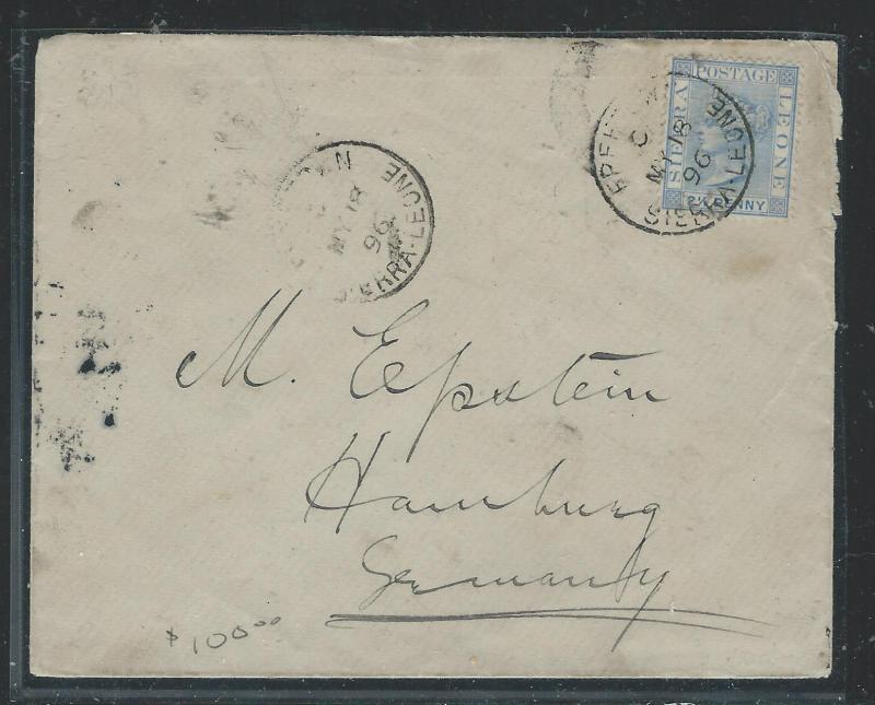 SIERRA LEONE (P3005B) 1896 QV 2 1/2D FREETOWN TO GERMANY