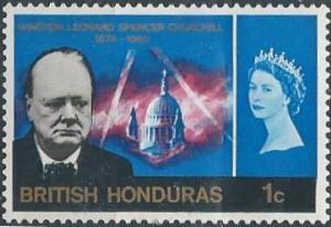 British Honduras 191 (mhr) 1p Churchill, brt blue (1966)
