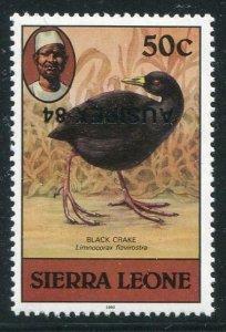 HERRICKSTAMP SIERRA LEONE Sc.# 638c Bird Stamp (Black Crane) Inverted Ovpt.