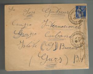 1940 Argeles Sur Mer France Cover to De Gurs Concentration camp Island Group