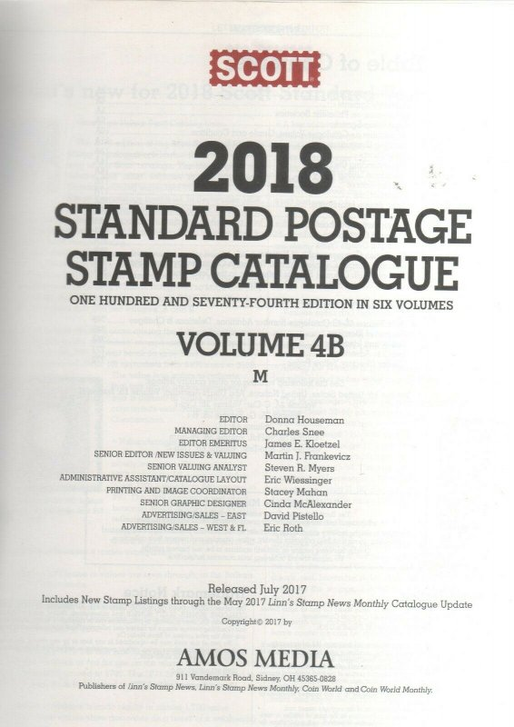 Standard Postage Stamp Catalogue 2018 Volume 4B M Countries Macao to Moxambique