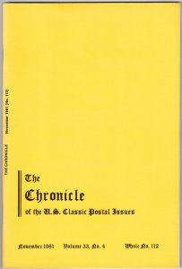 The Chronicle of US Classic Postal Issues Vol. 33 (1981)