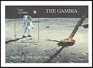 Gambia 968, MNH, 20th Anniversary of 1st Moon Landing souvenir sheet
