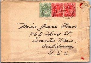 Battersea UK > Santa Rosa CA 1908 3 Edward VII stamps lots of cancels wax seals