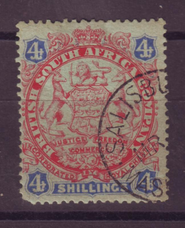 J17057 JLstamps 1896 rhodesia used #37 coat of arms