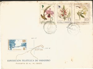 V) 1965 CARIBBEAN, EXFIVA, FLOWERS AND MAPS OF THEIR LOCATIONS,  WITH SLOGAN CAN