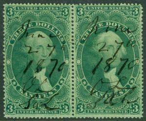 USA : 1862. Scott #R86c Choice, Extra Fine pair. A Gem. Catalog $125.00.