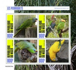 Niger - 2020 Parrots on Stamps - 4 Stamp Sheet - NIG200216a