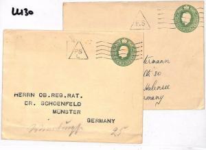 England Munster Berlin Germany x2 Postal StationeryCover {samwells-covers} LL130