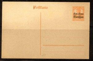 Poland # N9 on post card, Mint