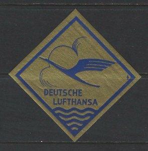 1950 DEUTSCHE LUFTHANSA POSTER STAMP MLH