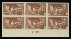 US#759 Plate Block of 6 - Unused - N.G.A.I.