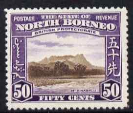 North Borneo 1939 Mount Kinabalu 50c (from def set) light...