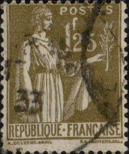 FRANCE - 1933 - Yv.287 1fr25 olive type Paix - Oblitéré B/TB (b)