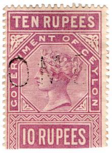 (I.B) Ceylon Telegraphs : 10R Pale Claret (1882)