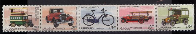 Vehicle Bus police patrol car bike firemen truck ambulance URUGUAY #1616 MNH $10