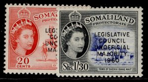 SOMALILAND PROTECTORATE QEII SG151-152, complete set, M MINT.