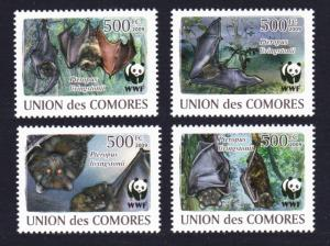 Comoro Is. WWF Livingstone's Fruit Bat 4v MI#2212-2215