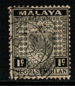 MALAYA NEGRI SEMBILAN SG21 1936 1c BLACK FINE USED