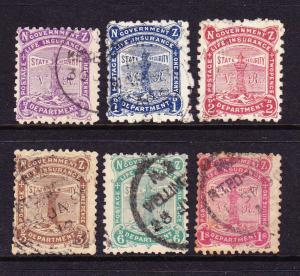 NEW ZEALAND 1891 GOVT LIFE SET 6 FU SG L1-6