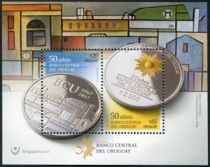 HERRICKSTAMP NEW ISSUES URUGUAY Sc.# 2600 50 Years Central Bank S/S