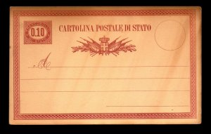 Italy 1870s 10c Official Postal Card Unused  - L11080
