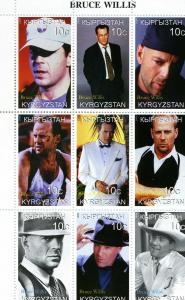 Kyrgyzstan 1999 BRUCE WILLIS Sheet (9) Perforated Mint (NH)