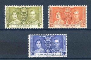 Seychelles 1937 Coronation set SG132/134 Fine Used