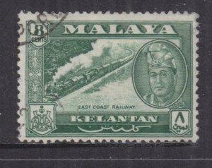 KELANTAN, 1962 Sultan Yahya Petra 8c. Myrtle Green used.