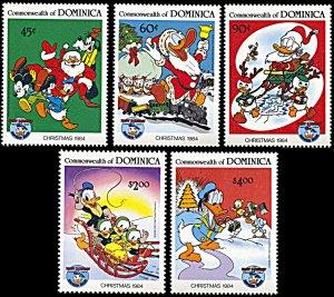 Dominica 869-873, MNH, Disney Christmas 1984, 50th anniv. Donald Duck