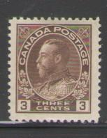 Canada Sc 108 1918 3 cent brown George V Admiral issue stamp mint