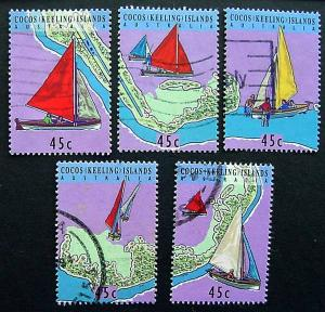 Cocos Islands, Scott 292a-e, set of used singles