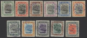 BRUNEI SG23/33 1907-10 DEFINITIVE SET FINE USED