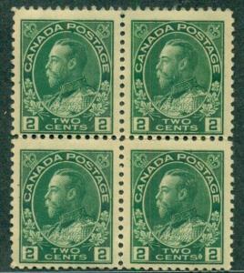 CANADA 107, 2¢ GREEN BLOCK OF 4, OG, 2 NH/2 LH VF SCOTT $185.00