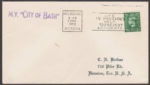 AUSTRALIA 1952 Ship cover - GB stamp - Melbourne Cancel - MV City of Bath..55133