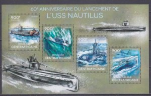 2014 Central African Republic 4845-48KL 60 years of the Nautilus submarine 16,00