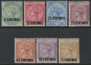 Sc# 22 / 28 1889 Gibraltar Queen Victoria surcharge complete set MMH CV $262.50