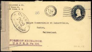 USA 1918 Switzerland WWI Censor Transatlantic Cover Postal Stationery Enti 81950