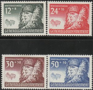 Stamp Germany Poland General Gov't Mi 059-62 Sc NB8-11 1940 WWII Nazi Era MNG