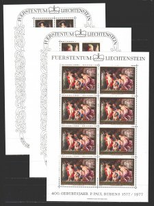 Liechtenstein. 1977. Small sheet 655-57. Rubens, nude painting. MNH.