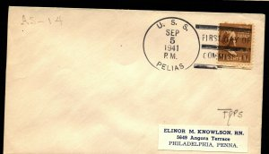 USS PELIAS AS-14 SUBMARINE TENDER 1941 FIRST DAY IN SERVICE NAVAL COVER F