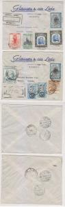 COLOMBIA 1955-56 TWO R-AIR COVERS TO BIENNE, SWITZERLAND RATED 1.76P VF