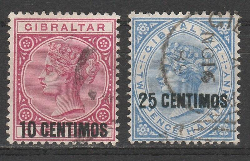 GIBRALTAR 1889 QV 10 CENTIMOS AND 25 CENTIMOS OVERPRINT USED