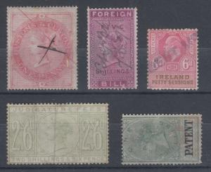 Great Britain, J. Barefoot listed Fiscals, 5 different Revenues, nice group