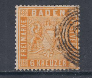 Baden Sc 13a used 1862 6kr yellow orange Coat of Arms, fresh & F-VF