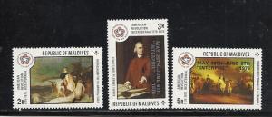 Maldive Islands #639-41 comp mnh Scott cv $6.75 Stamp Exhibition