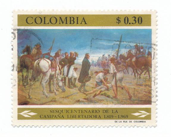 Colombia 1969  Scott 788 used - 30c, fight for independence