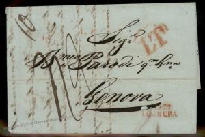 Turkey 1842 Genova Italy Disinfected Cholera Pest Cover Constantinople 91915