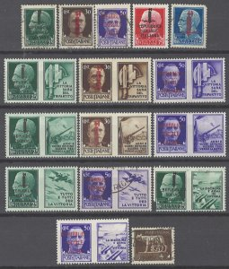 COLLECTION LOT # 2102 ITALY SOCIAL REPUBLIC 16 STAMPS 1944