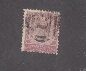 PRINCE EDWARD ISLAND # 8 9d  VIOLET  WITH NUMERAL DUPLEX CANCEL CAT VAL $100